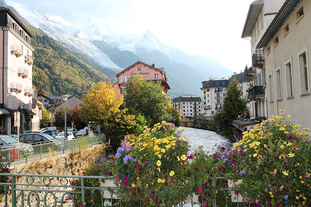 flowers over rver town chamonix