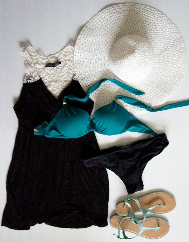 Bikini, LBD, White Hat, Mint Sandals Outfit