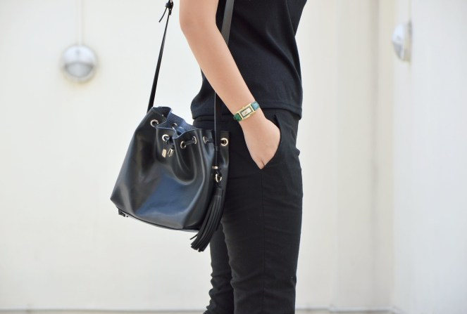 all black outfit, zara black tassel bucket bag, gucci vintage watch