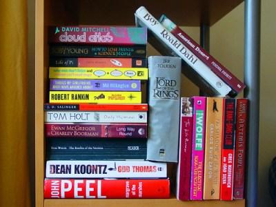haphazard books on shelf