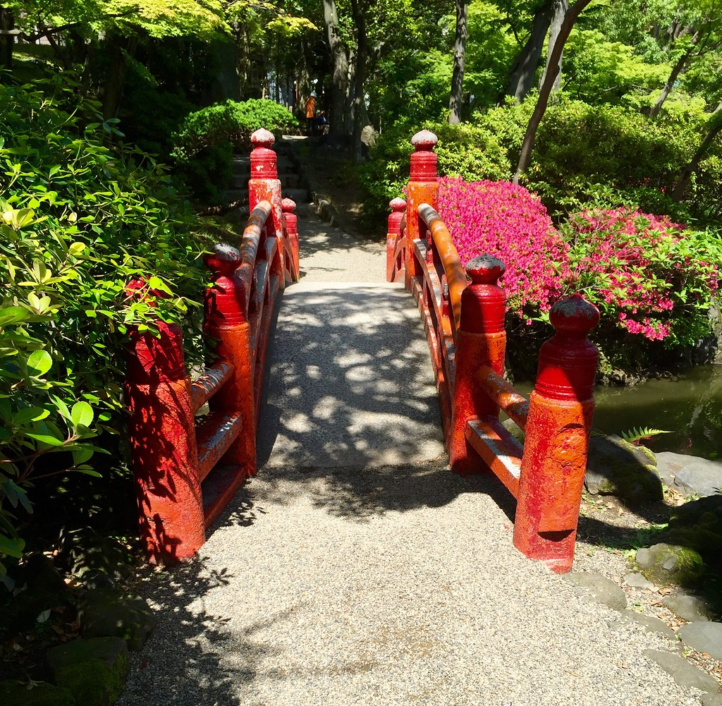 Red Bridge at the Old Yasuda Garden