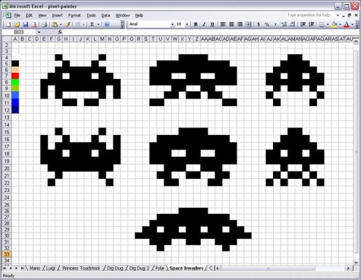 Space Invaders in an Excel Spreadsheet