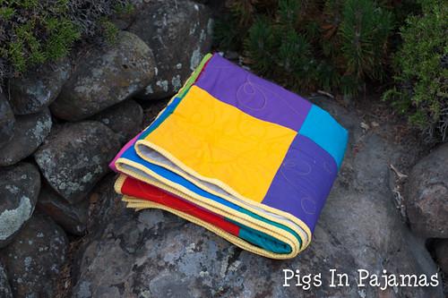 Bright squares quilt folded