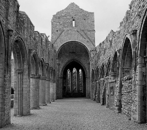 Ireland Cistercian Abbey 4 bw by gnawledge wurker