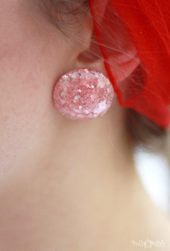 Pink confetti lucite earring closeup