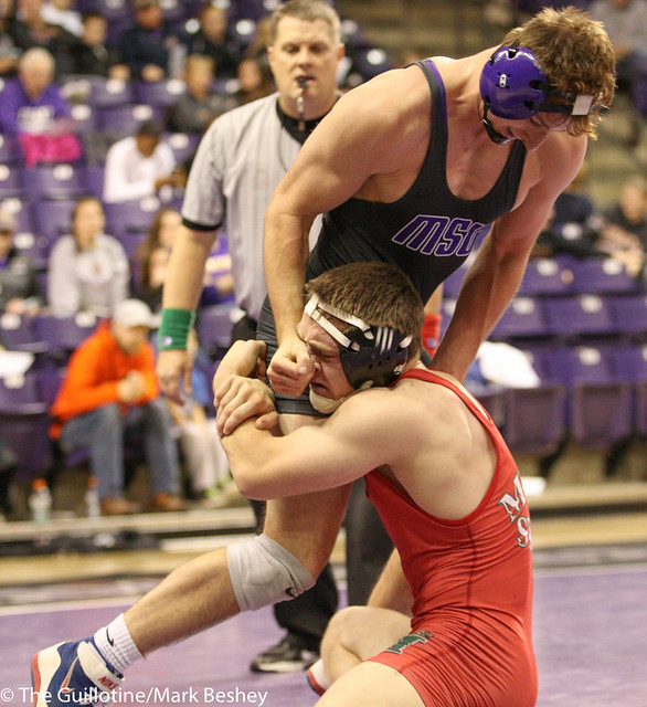 157- Logan Saltou, MSU, pinned Shane Sheppard, 6:23 (15-6)