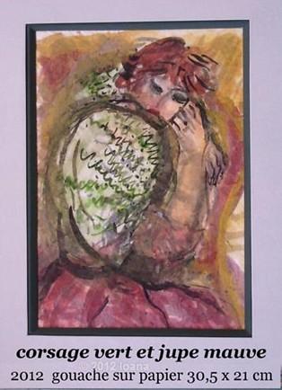 iie verde cu fusta mov - guasa pe  hartie 30-5 x21 cm