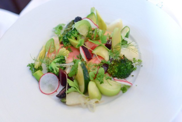 market vegetable chop salad with petite herbs and champagne vinaigrette