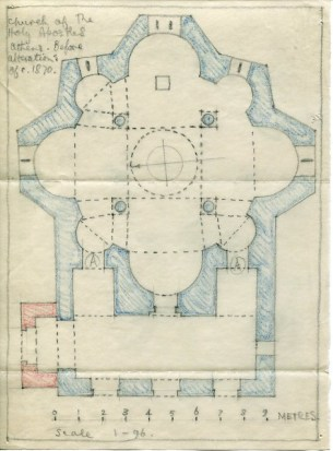 David Talbot-Rice's archive includes notes and diagrams, such as this plan of the Church of the Holy Apostles in Athens, attempting to record the state of the building before 19th-century alterations. David-Talbot Rice Archive 19686380336, courtesy of the Barber Institute of Fine Arts, made available digitally by the Birmingham East Mediterranean Archive.