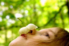 Girl balancing mayapple blossom on her nose