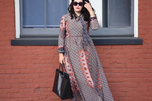 Scarf Neck Print Maxi Dress