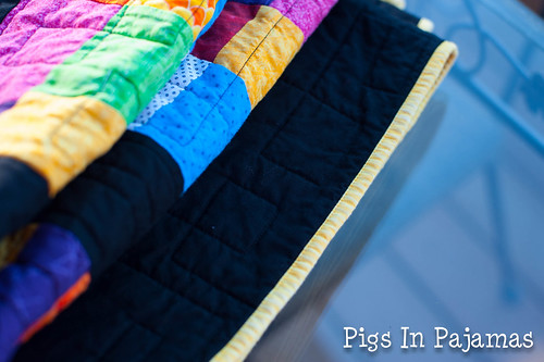 Crazy 9 patch quilt binding