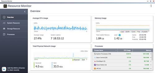 Resource Monitor ใหม่บน QTS 4.3 ไฉไลกว่าเดิมมาก