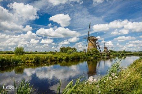 Windmills Kinderdijk and a typical Dutch sky