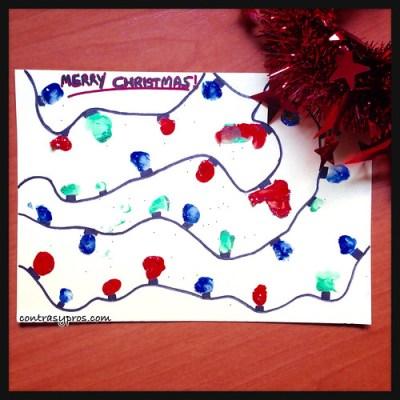Tarjeta navideña para hacer con niños de 3 años. Navidad. Christmas