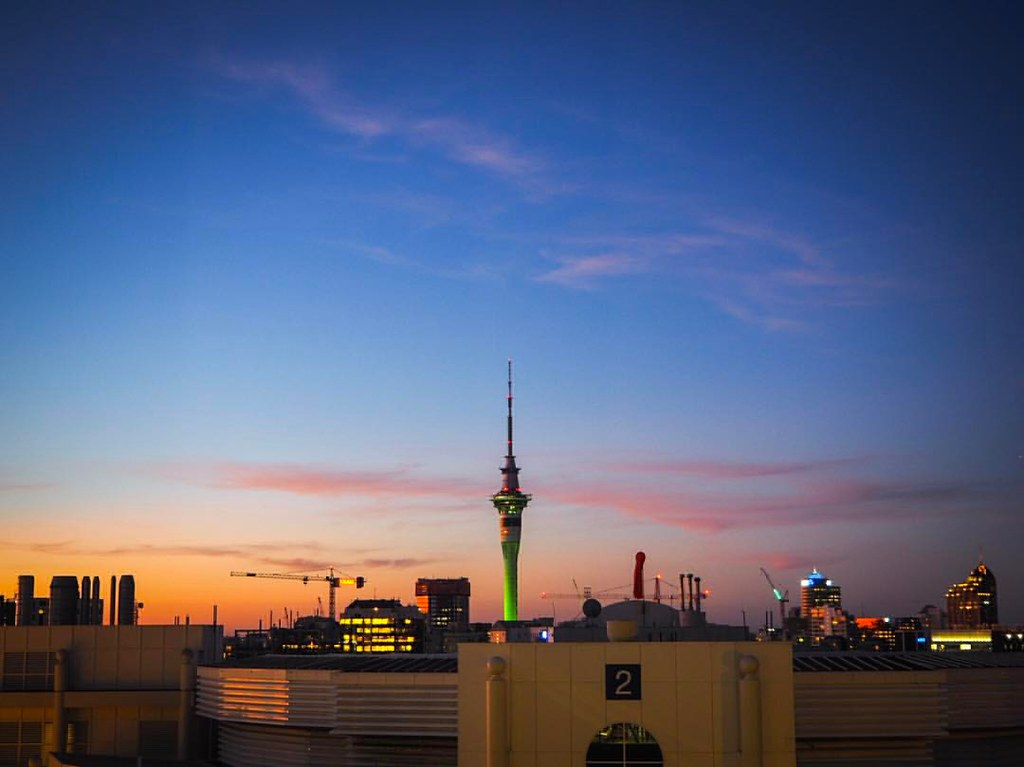 Sunset behind the Sky Tower, Auckland, New Zealand   #sunset #skytower #Auckland #🌆 # #visitauckland #mycityakl #eyeonauckland #heartofaklcity #tamikimakaurau #citybestpics #city_explore #seemycity #citylimitless #sunsetsniper #sunrise_and_sun