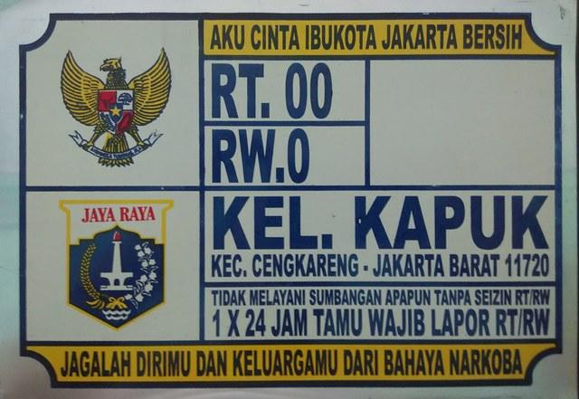 Plat Nomor Rumah Kapuk Jakarta Barat