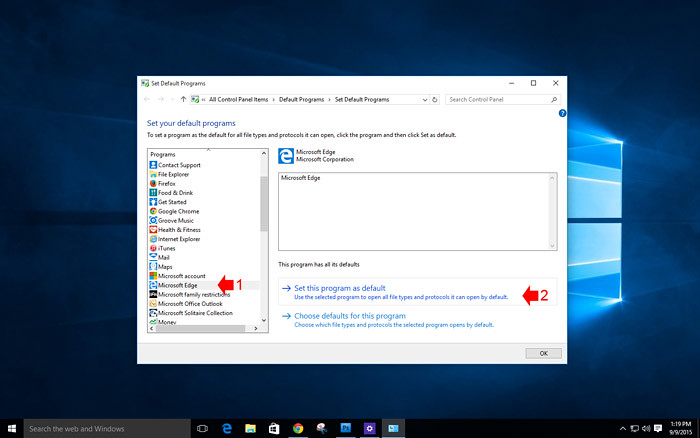 How to customize default app in windows 10-8