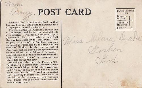 Flanders Glidden Pathfinder Postcard Back