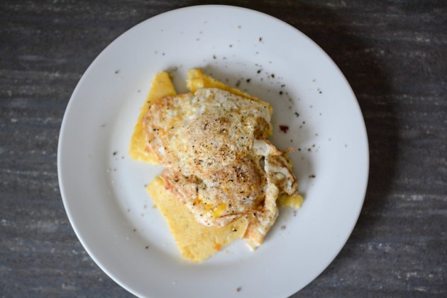 Pan-fried Polenta with runny eggs and tomato jam.