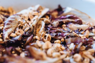Grilled radicchio with blue cheese and hazelnuts