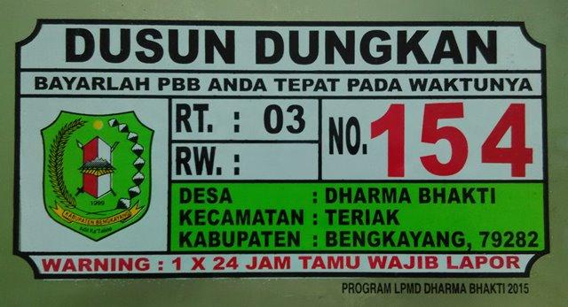 Plat Nomor Rumah Bengkayang Kalimantan