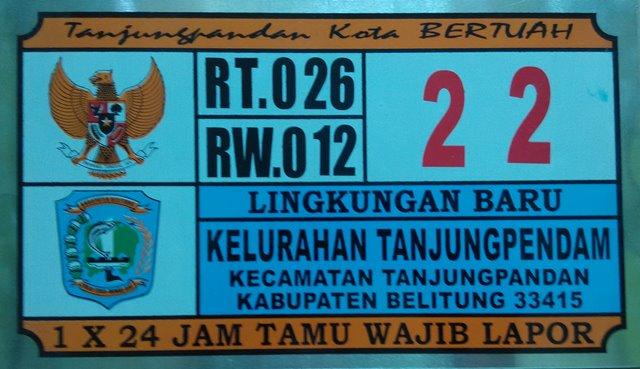 Plat Nomor Rumah Tanjungpendam Belitung