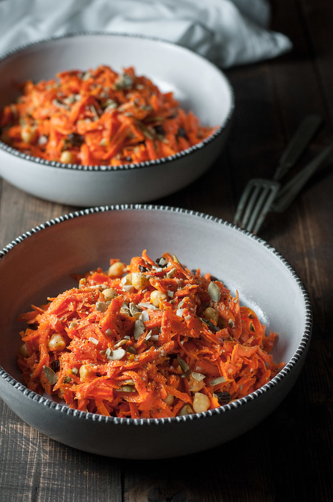 Fall carrot salad is Halloween themed AND vegan/healthy!