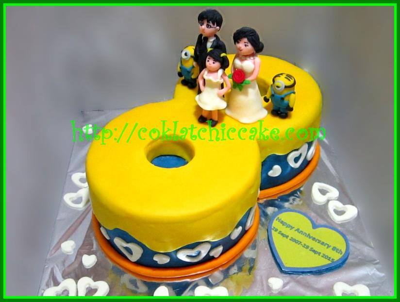 Cake Angka 8 wedding anniversary dan minion RICO Jual