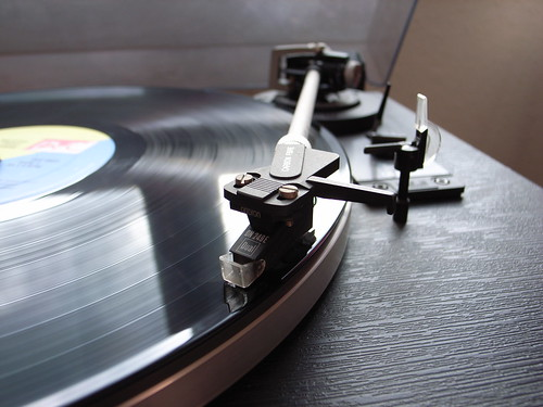 Record on a record player