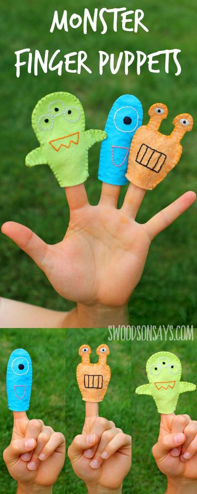 Monster Finger Puppets - Free sewing pattern & tutorial by Swoodson Says for FleeceFun.com