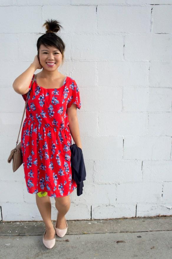Red Scoop Neck Dress DIY