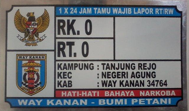 Plat Nomor Rumah Tanjung Rejo Way Kanan