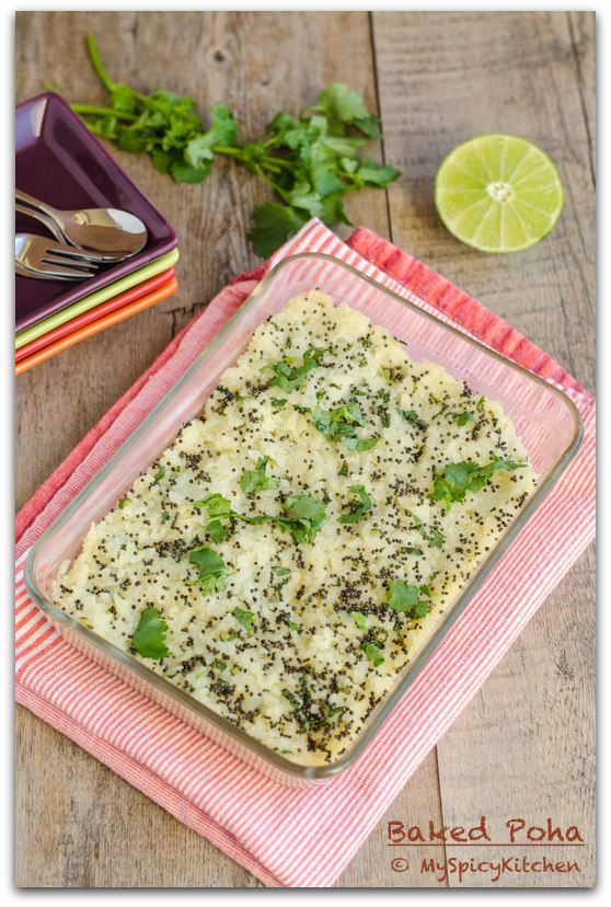 Baked Poha, Baked Atukulu, Savory Beaten Rice Cake, Savory Flattened Rice Cake, indian Recipe, Savory Bake, Maharashtrian Cuisine,  Maharashtrian Food,