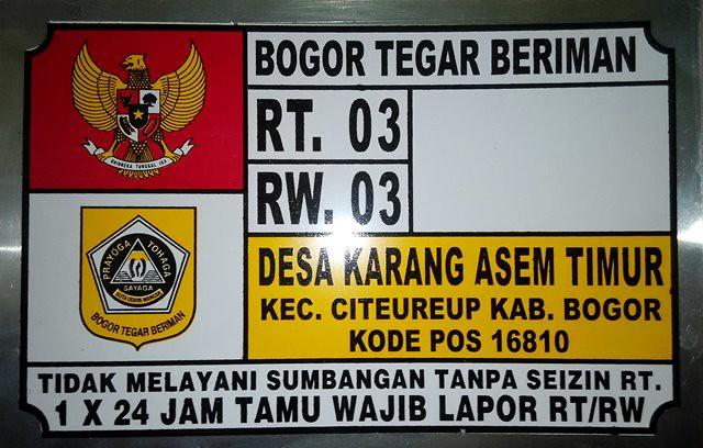 Plat Nomor Rumah Bogor