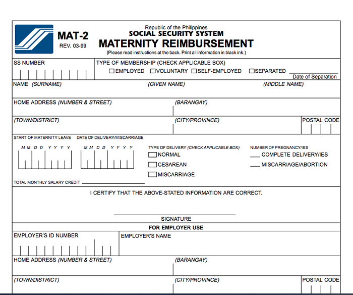 SSS Maternity Reimbursement Form
