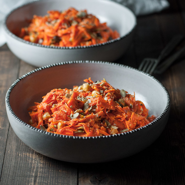 Healthy, delicious carrot salad for a meatless/vegan weeknight dinner