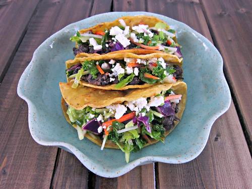Crispy Black Bean Tacos with Feta and Slaw