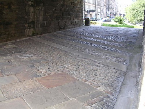 Newcastle granary marked out on the pavement