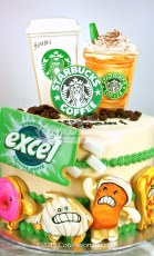 Starbucks Excel Gum themed cake