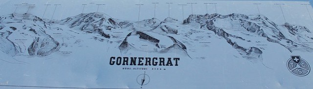 Gornergrat Mountain Peaks Map zermatt