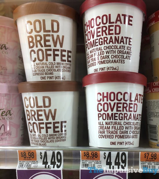 Mr Green Tea Ice Cream Company Cold Brew Coffee and Chocolate Covered Pomegranate Ice Cream Pints