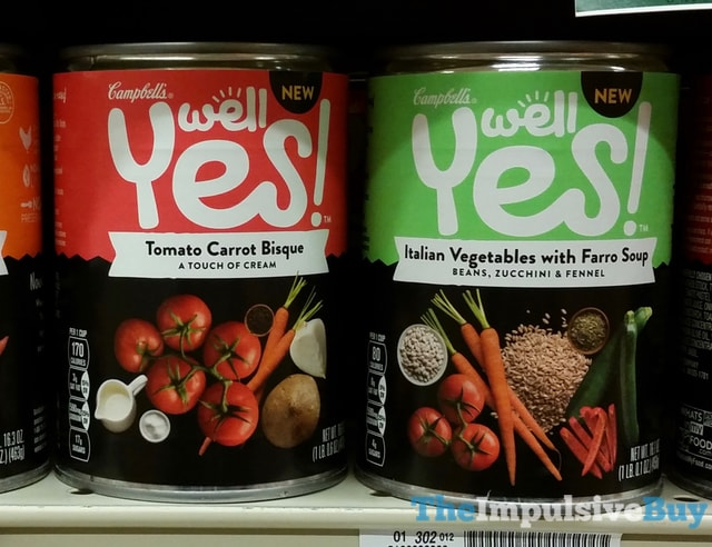Campbell's Well Yes Tomato Carrot Bisque and Italian Vegetable with Farro Soup