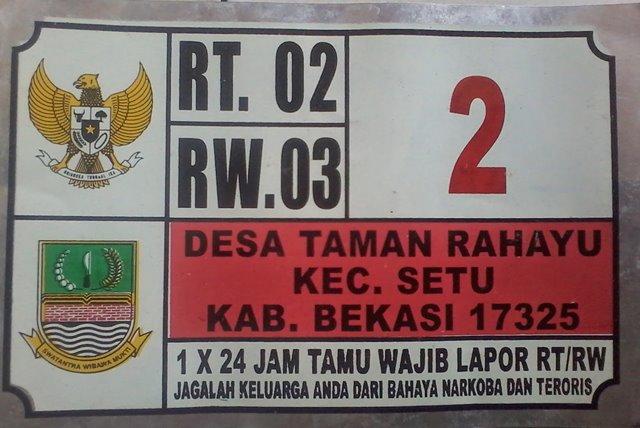 Plat Nomor Rumah Taman Rahayu Bekasi