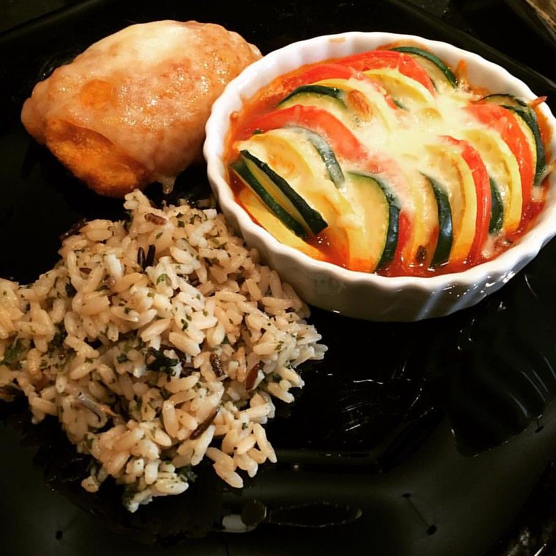 Chicken Cordon Bleu with Wild rice and ratatouille....