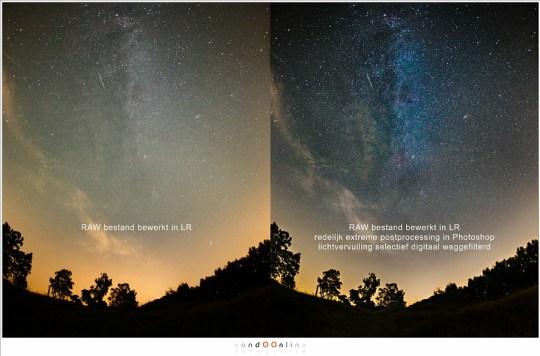 Een extreme postprocessing in Photoshop laat details naar voren komen. Voorwaarde is een gedeeltelijke filtering van de aanwezige lichtvervuiling.