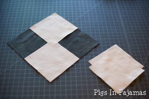 All the pieces to make four flying geese