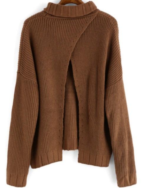 Winter is Coming: SheIn's Khaki High Neck Split Loose Sweater