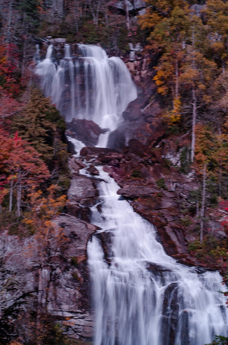 Whitewater Falls with Fall Leaves-004