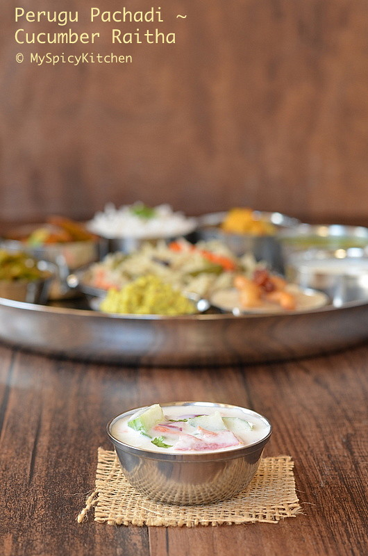Perugu pachadi, raita, cucumber raita, Blogging Marathon, Buffet On Table, Telugu Meal, Telangana Meal,